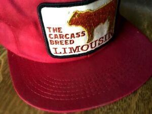 """Vintage """"Limousin Carcass Breed"""" K Products Brand Snapback Trucker Hat Cap"""