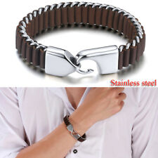 Sliver Men's Stainless Steel Leather Chain Link Bracelet Cuff Bangle Wristband