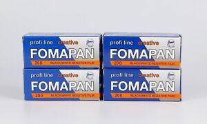 Pack of 4 Fomapan 200 B&W 120 Film 12 Exp., Expired 02.2020