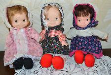 3 Vintage 1973 Fisher Price Lap Sitter Doll, Jenny 201, Mary #200, Natalie #202