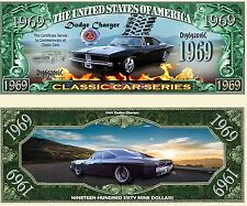 2 Notes 1969 Dodge Charger Classic Car Series Novelty Million Dollar Notes