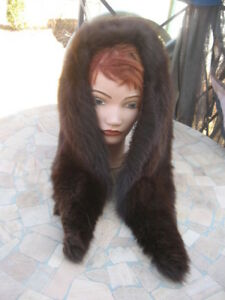 "#D14 UNISEX sweet fox fur collar  DARK brown 44"" inches long 6"" IN WIDE BACK"
