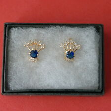 BEAUTIFUL NATURAL BLUE SAPPHIRE & WHITE CZ 9K GOLD FILLED EARRINGIN IN GIFT BOX