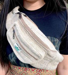 Natural 100% Hemp Bum Bag Hippy Boho Festival Hippie Handmade Fair Trade- UK