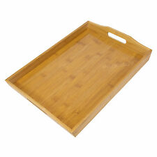 Bamboo Wooden Serving Tray with Handles TV Dinner Breakfast Bed Lap Kitchen Wood