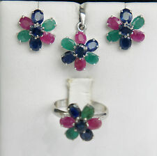 14k Solid White Gold with Natural Mix Ruby-Sapphire-Emerald Flower Stud Set.