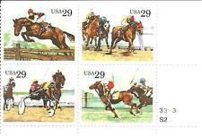 USA SC#2756-9 PB4 MNH SPORTING HORSES STAMPS 1993  S-295