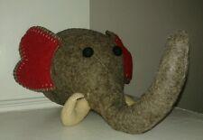 New Boiled Wool Elephant Head Taxidermy Style Large Grey