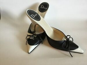Christian Dior Tasseled Black And White Leather Mules Size 37.5/US 7.5
