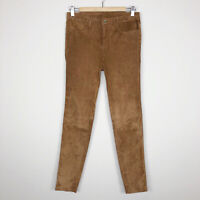 Massimo Dutti Women's Suede Lambskin Skinny Pants Butter Soft Size Small *read