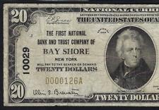 NY 1929 $20 ♚♚BAY SHORE, NEW YORK♚♚ PMG CH FINE 15   VERY RARE!!!