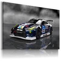 NISSAN GTR BLUE WHITE BLACK Cars Wall Canvas Picture ART AU590 MATAGA