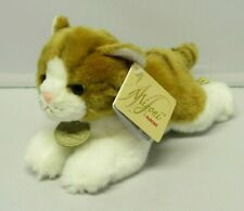 "MIYONI ORANGE TABBY CAT Marmalade Plush Lying Down 9"" Stuffed Toy NEW Aurora"
