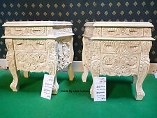 2 x Antique Cream  Rococo Bedside table . French Baroque style