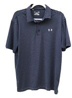Under Armour Men's Heat Gear Size Large Loose Golf Polo Shirt Blue Gray Striped