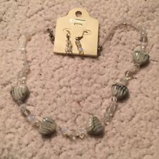 Clear glass bead and grey ceramic heart bead necklace earring