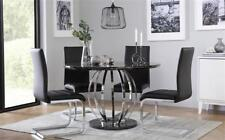 Savoy Round Black Marble and Chrome Dining Table - with 4 Perth Black Chairs