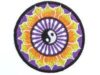 "Yin Yang Purple Lotus Yoga Tao Embroidered Sew On Iron On Jacket Badge Patch 3"""