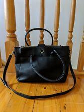 Oroton Worker Leather Tote Black Pebbled Laptop Bag Handbag