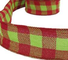 """3 Yds Christmas Red Grinch Green Plaid Burlap Jute Like Wired Ribbon 2 1/2""""W"""