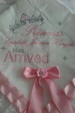 beautiful white/pink baby girls shawl **NEW**  PERSONALISED