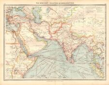 1907  LARGE ANTIQUE MAP - THE NEAR EAST : INDUSTRIES & COMMUNICATIONS