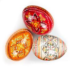 3 Wooden Ukrainian Easter Eggs Pysanka Pysanky Pisanki Medium Size