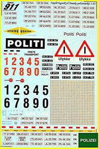 POLITI Denmark Police Cars of The World für ältere Arten von Autos 1:43 Decal