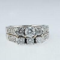 1.50ctw Three Stone Round Diamond Accented Matching Bridal Set in 14K White Gold