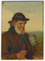 FISHERMAN PORTRAIT IN THE STYLE OF DAVID W HADDON Oil Painting On Board c1910