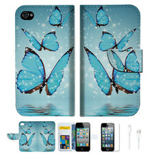 Cyan Butterfly Wallet Case Cover For Apple iPhone 4 4S -- A019