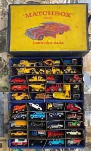 1965 Matchbox Carrying Case Vintage Diecast Lot of 40 Cars & Construction~AS IS