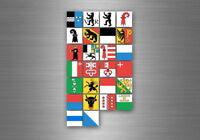 Planche autocollant sticker etiquette drapeaux region province etats suisse