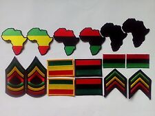 16 RASTA Flag, Africa Army and Africa Map Embroidered Patches