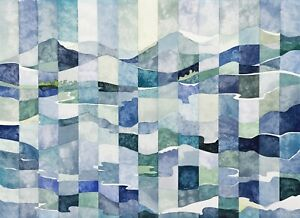 "Fine Art Print, ""Woven Hills,"" 16x20, Watercolor, Modern Art Tapestry Landscape"