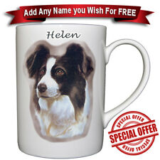 Border Collie - Bone China Mug + Personalised with any name added for free