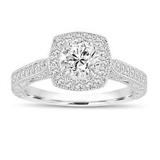 GIA Certified F-SI1 Diamond Engagement Ring 1.15 Ct 14K White Gold Hand Engraved