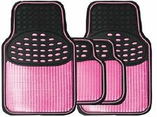Universal GIRLS Black & Metallic PINK Heavy Duty Rubber Interior Car Floor Mats