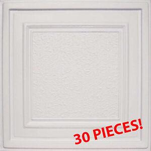 "Grid System, Pop In, 24"" x 24"", PVC, Ceiling Tiles, ZETA White 30 Pieces"