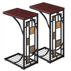 C-shaped Side Sofa Table Set of 2 Coffee Tray End Table Living Room Furniture