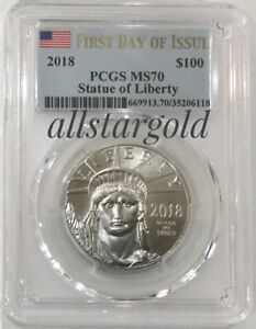 2018 $100 platinum PCGS MS 70  First day of issue $100 Platinum Eagle pop 592