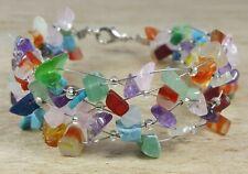 *Freedom Tree* Mixed Gemstone Bangle Cuff Bracelet Hand Made Chakra Healing