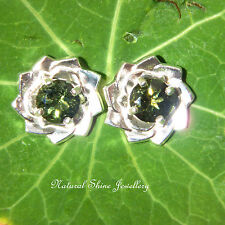 Unique Natural Moldavite Stud Earrings Flowers 1.3 CTW  925 Sterling Silver 6mm