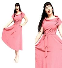 Marti Salmon Pink Retro 60s Dress Silk Bias Cut Cowl Neck Pinup 50s Mad Men 12