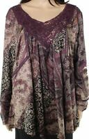 One World Womens Blouse Purple Size 1X Plus Floral Embroidered Trim $44- 883