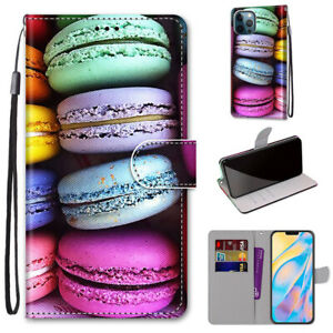 3D Macaroon Biscuits Flip Stand Leather Card Wallet For Various Phone Case Cover