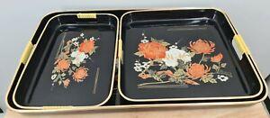 Vintage Retro Japan Japanese Black Floral Serving Tray Set Plastic Orange Gold 3