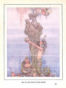 Mermaid.W.Heath Robinson.1940.Statue.Children's print.Art.Charming.Cute.Art