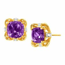 Natural Amethyst Stud Earrings with Diamonds in 18K Gold-Plated Sterling Silver
