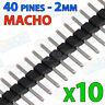 10x MINI Tira 40 pines 2mm simple MACHO color NEGRO - single row soldar